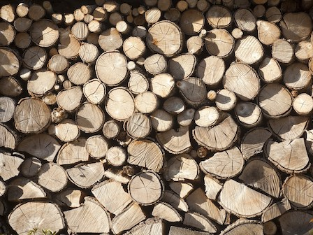 Firewood pile in the sunlight, full frame.