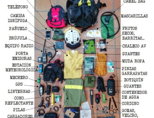 Qué debe contener la mochila de un agente medioambiental en un incendio